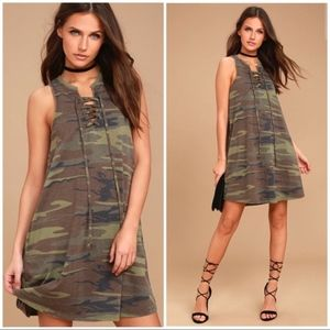 Z SUPPLY All Tied Up Green Camo Lace-Up Dress
